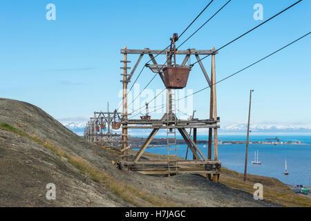 Old coal mine factory, Rusted coal trolleys in Longyearbyen, Spitsbergen Island, Svalbard Archipelago, Norway - Stock Photo