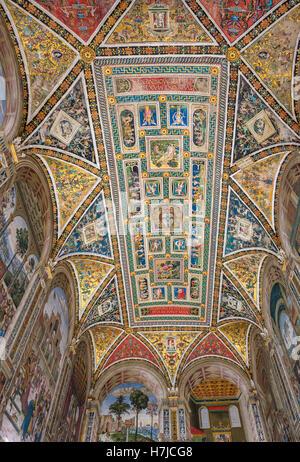 The Piccolomini Library in the Siena Duomo, Tuscany, Italy - Stock Photo