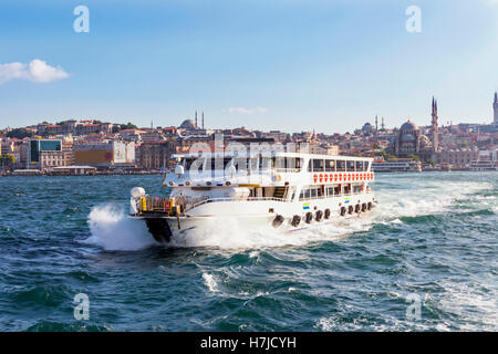 Sigths of Istanbul ,a cruise on the Bosphorus. Topkapi Palace, Hagia Sophia, New Mosque. - Stock Photo