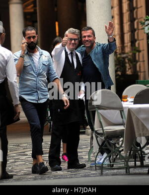 Lothar Matthaus and his wife Anastasia Klimko seen shopping and having lunch in Via Montenapoleone  Featuring: Lothar Matthaus, Lothar Matthäus Where: Milan, Italy When: 05 Oct 2016 Stock Photo
