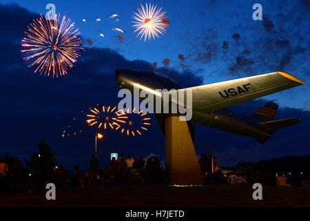 Fireworks explode in the night sky during Super Saber Appreciation Day and U.S. Independence Day at the Spangdahlem - Stock Photo