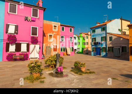 Colourful houses in the Venetian island of  Burano - Stock Photo