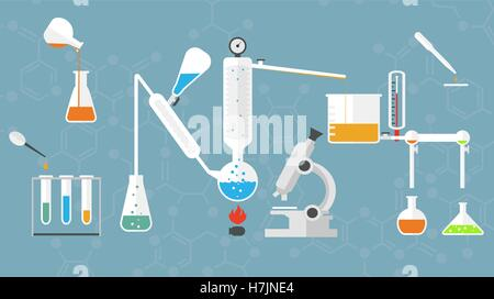 Chemical laboratory tubes and glasses, microscope, liquids and reagents. - Stock Photo