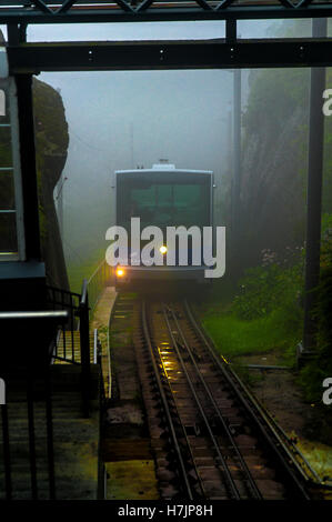 The Fløibanen is a funicular railway in the Norwegian city of Bergen. It connects the city centre with the mountain - Stock Photo