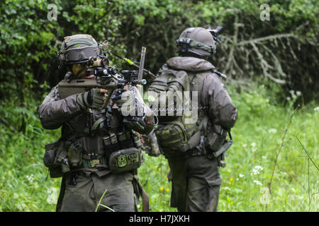 Austrian soldiers patrol during Combined Resolve II action training exercise at the Joint Multinational Readiness - Stock Photo
