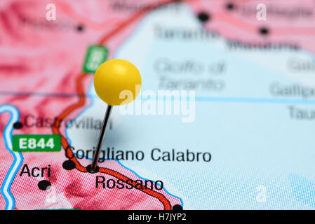 Rossano pinned on a map of Italy - Stock Photo