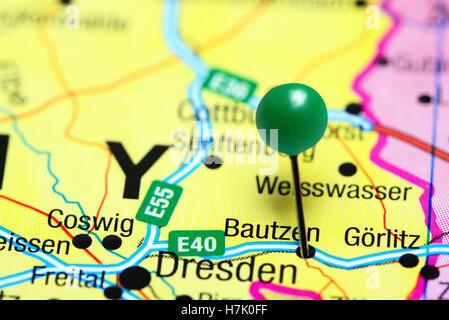 Bautzen pinned on a map of Germany - Stock Photo