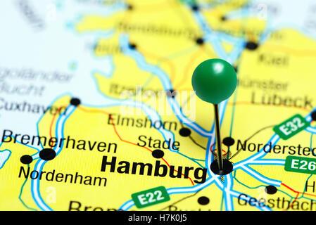 Hamburg pinned on a map of Germany - Stock Photo