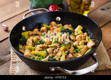 Traditional Chinese Food Background With Ginger Garlic Mushrooms