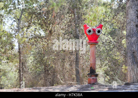 Red Fire hydrant in a pine tree forest - Stock Photo