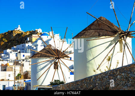 Traditional Greece - picturesque SErifos island in Cyclades. View of Chra village and windmills - Stock Photo