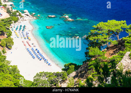beautiful turquoise beaches of Greek islands - Karpathos, Apella beach - Stock Photo