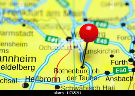 rothenburg ob der tauber pinned on a map of germany stock photo