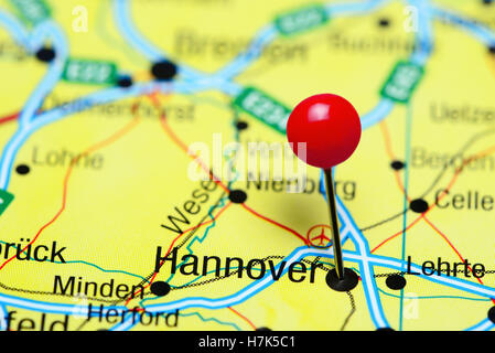 Hannover Germany pinned on a map of Europe Stock Photo 123327890