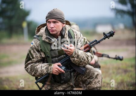 A Ukrainian Marine soldier during an exercise Rapid Trident cordon and search training mission at the International - Stock Photo