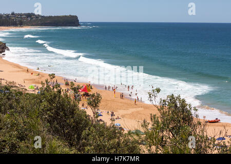 View looking north along Warriewood Beach, one of Sydney's famous northern beaches,new south wales,Australia - Stock Photo