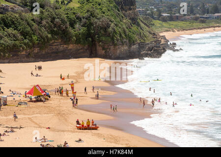 View looking north along Warriewood beach , one of Sydney's famous northern beaches,Sydney,Australia - Stock Photo