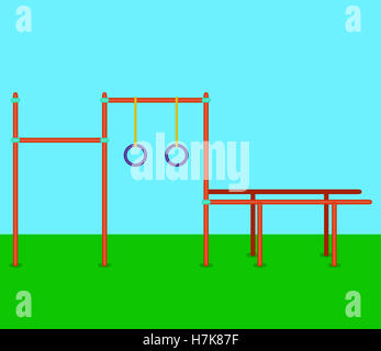 Sports horizontal bars, parallel bars, rings. Playground for street workout. Vector illustration - Stock Photo