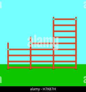 Stairs playground flat. Swedish sport staircase. Vector illustration - Stock Photo