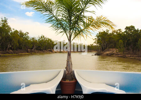 Cruising on a house boat along the Murray River in Victoria, Australia - Stock Photo