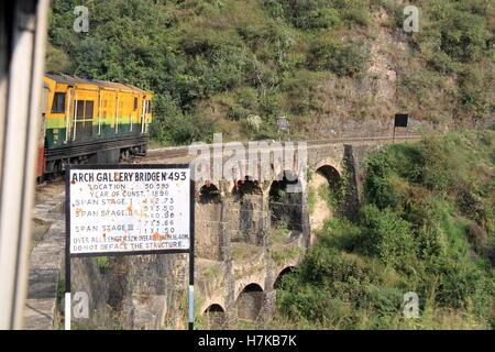 Arch Gallery Bridge 493, near Kandaghat, Kalka-Shimla Railway, Himachal Pradesh, India, Indian subcontinent, South - Stock Photo