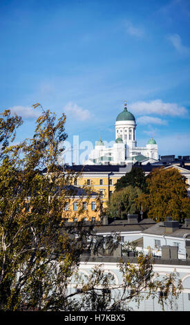cathedral landmark and central helsinki city view in finland - Stock Photo