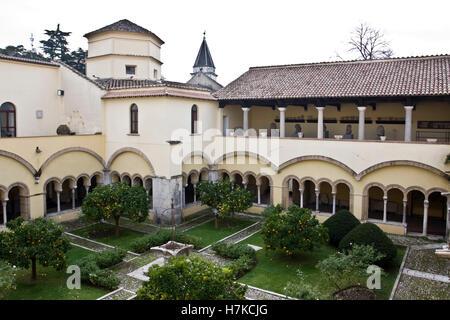 Cloister of the Church of Santa Sofia Benevento, Archeological Museum, Campania, Italy, Europe - Stock Photo