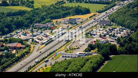 Autobahn rest area Rhynern, A2 motorway, Hamm, Ruhr District, North Rhine-Westphalia, Germany - Stock Photo
