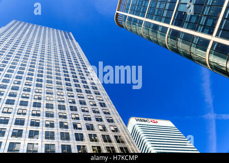 London, UK - August 30, 2016 - HSBC tower in Canary Wharf, financial district of London - Stock Photo