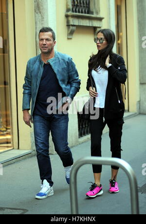 Lothar Matthaus and his wife Anastasia Klimko seen shopping and having lunch in Via Montenapoleone  Featuring: Lothar - Stock Photo