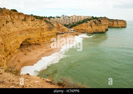 Coastline, cliffs and rock formations near Carvoeiro, Algarve, Portugal - Stock Photo