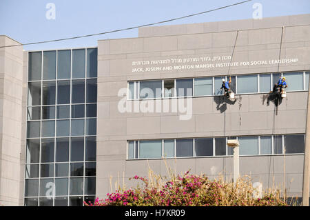 Cleaning windows while rappelling - Stock Photo