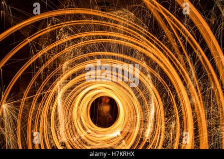 Long Exposure Steel Wool Photography at Night in Helensburgh, New South Wales, Australia - Stock Photo