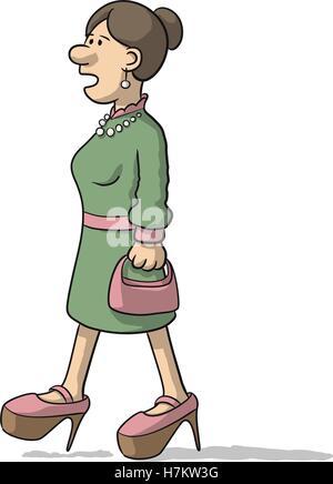 woman character walks and talks - Stock Photo