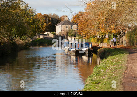 Kennet and Avon Canal autumn, Bradford on Avon, Wiltshire - Stock Photo
