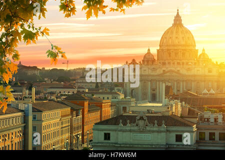 Beautiful sunset over Vatican in summer, Italy - Stock Photo