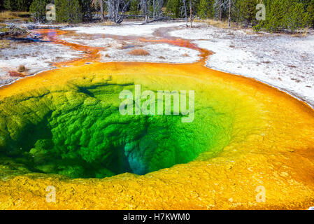 View of the famous Morning Glory Pool in the Upper Geyser Basin in Yellowstone National Park - Stock Photo