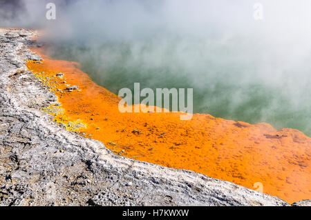 Champagne Pool in the wonderland of the Wai-o-tapu geothermal area, near Rotorua, New Zealand - Stock Photo