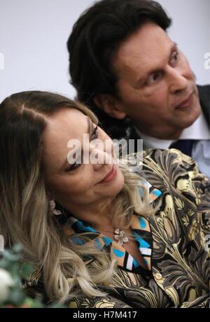 Moscow, Russia. 5th Nov, 2016. Italian actress Ornella Muti (L) and entrepreneur, CEO of NYW Ltd., Fabrice Kerherve - Stock Photo