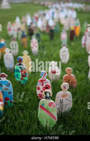 Battle of the Somme en masse art installation. National Memorial Arboretum, Staffordshire, UK. - Stock Photo