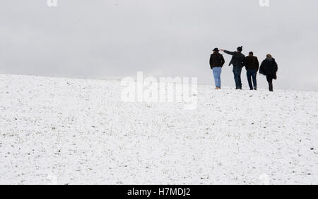Spectators attending the on a traditional Leonhardifahrt procession are walking through a snow covered meadow at - Stock Photo