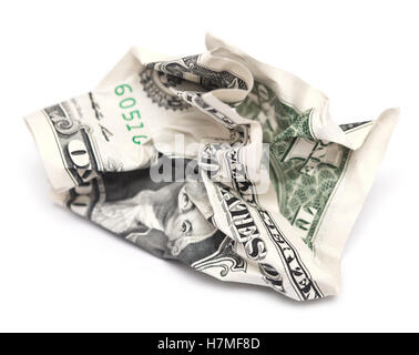 crumpled dollar bill isolated on white background - Stock Photo