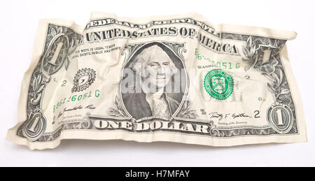 crumpled one dollar bill - Stock Photo