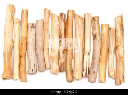 wooden sticks isolated on white background - Stock Photo