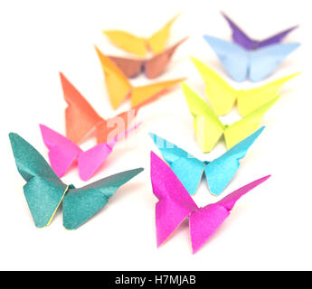 origami butterfly isolated on white background - Stock Photo