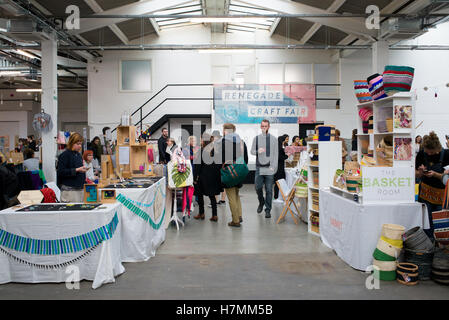 Renegade Craft Fair, an indoor indie market event held at the Old Truman Brewery in Shoreditch, East London - Stock Photo