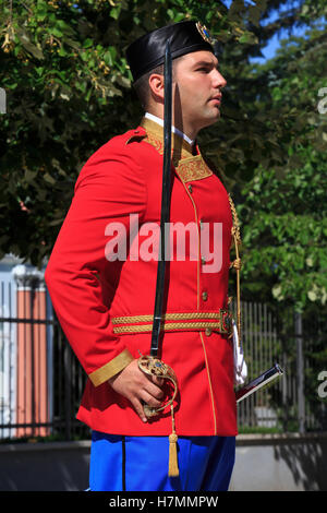 An officer of the presidential guard at the entrance of the residence of the President of Montenegro in Cetinje - Stock Photo