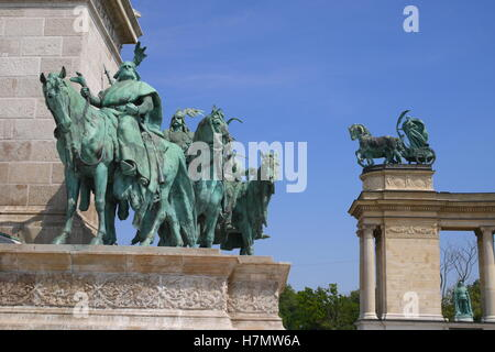 Statues of Hungarian chieftains, led by by Prince Arpad, at the base of the Millenary Column, Heroes' Square, Budapest, - Stock Photo