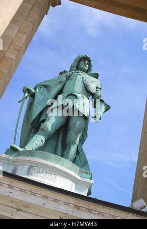 Statue of King Matyas on the right colonnade of the Millennium Monument, Heroes' Square (Hosok tere), Budapest, - Stock Photo