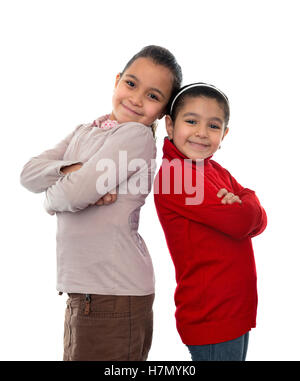 Two Best Friends Girls Isolated on White Background - Stock Photo